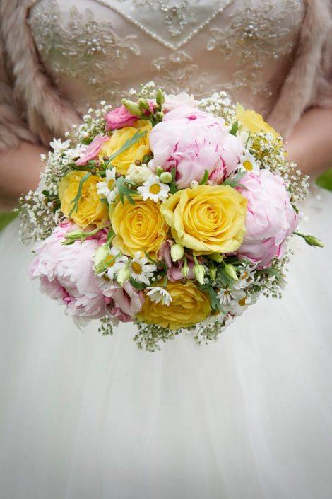Nærbillede af brudebuket